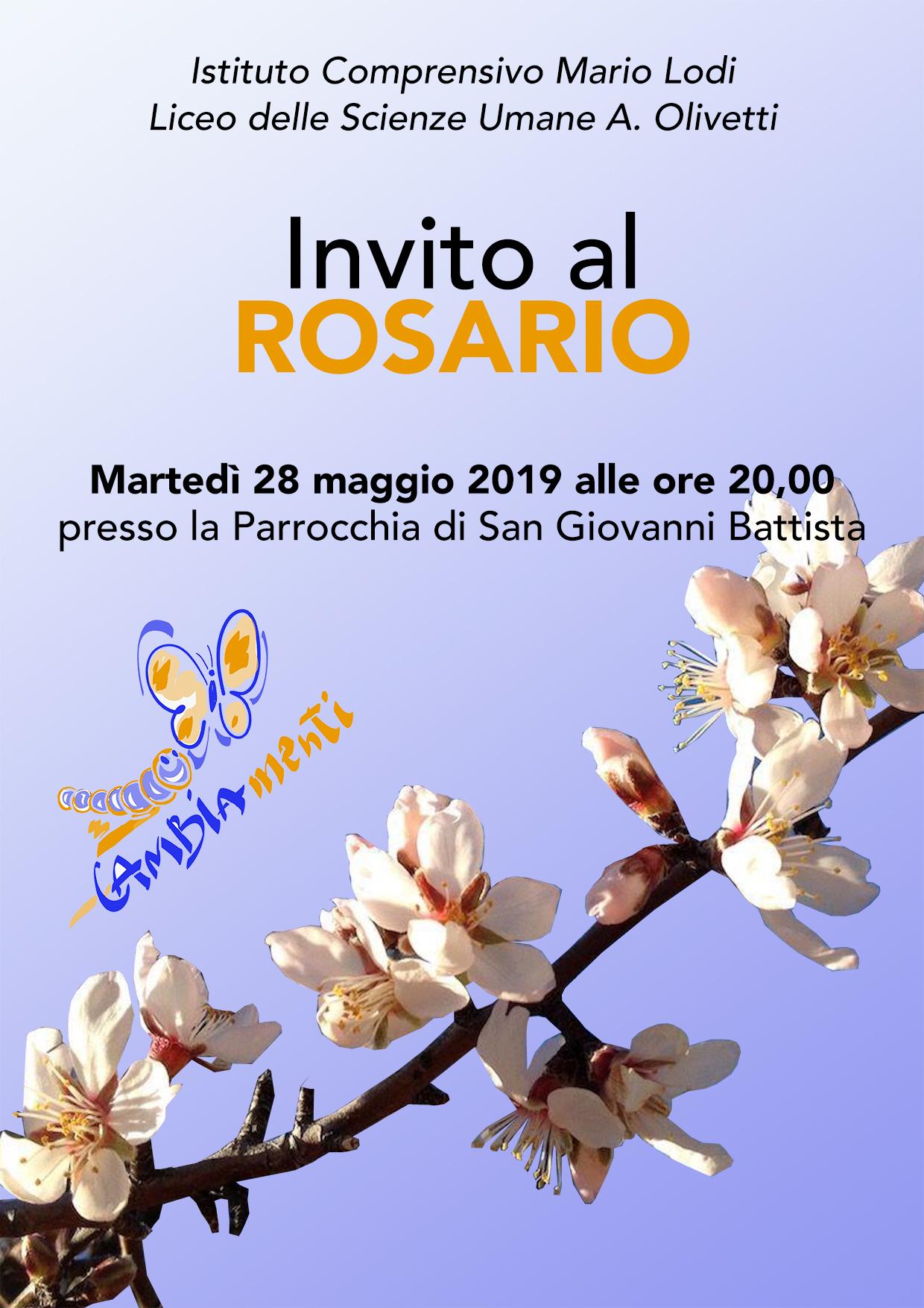 Invito al Rosario di martedì 28 maggio 2019